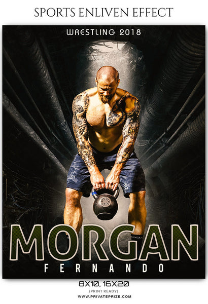 Morgan Fernando Wrestling Sports Enliven Effects Photoshop Template - Photography Photoshop Template