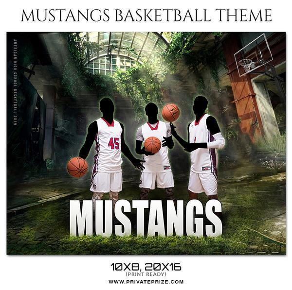 Mustangs - Basketball Theme Sports Photography Template