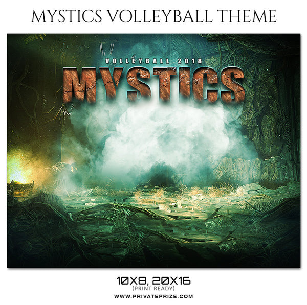 Mystics - Volleyball Themed Sports Photography Template - Photography Photoshop Template