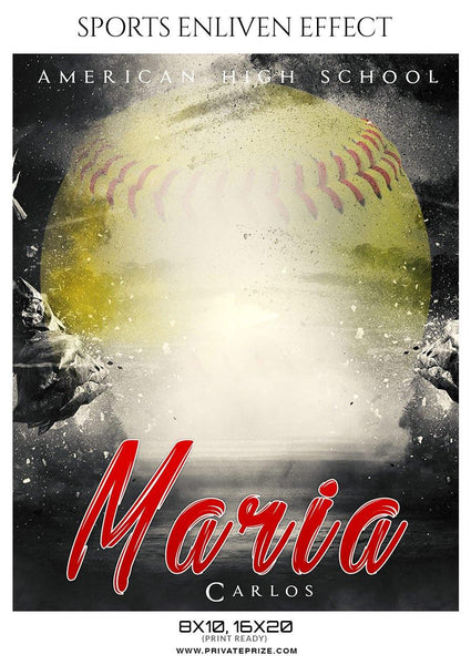 Maria Carlos - Softball Sports Enliven Effect Photography template