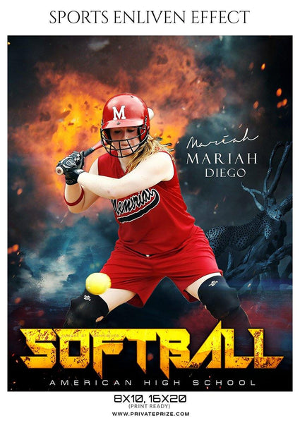 Mariah Diego - Softball Sports Enliven Effect Photography template