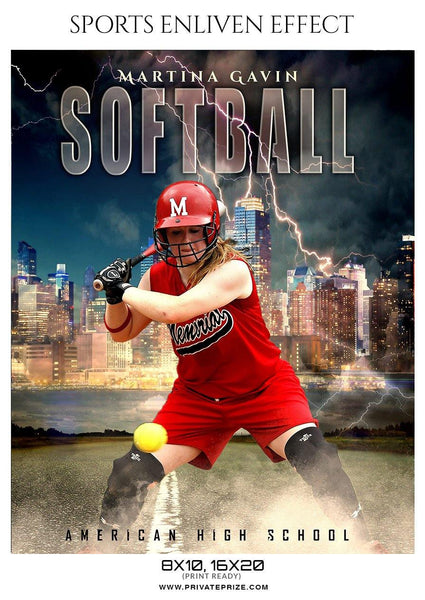 Martina Gavin - Softball Sports Enliven Effect Photography template