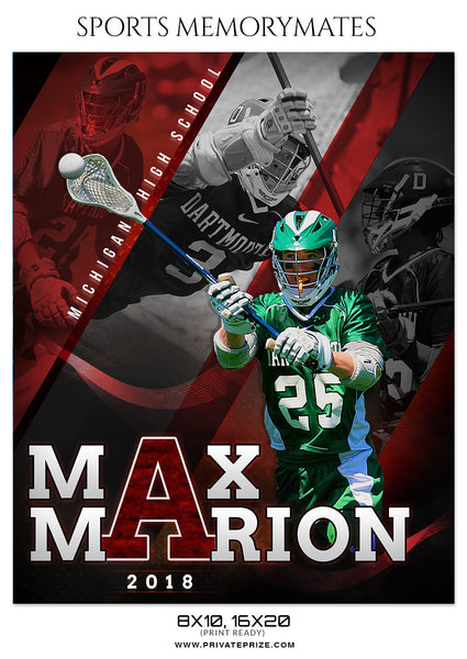 MAX MARION Lacrosse- Sports Memory Mate Photoshop Template - Photography Photoshop Template