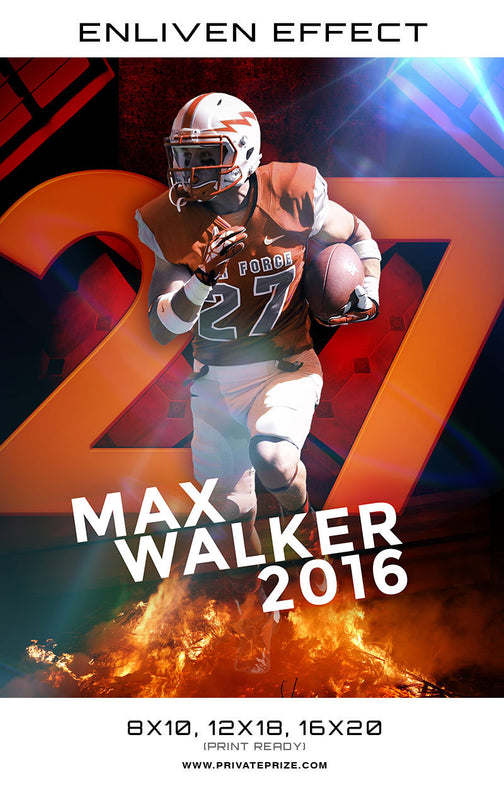 Max Walker Football Sports Template -  Enliven Effects - Photography Photoshop Template