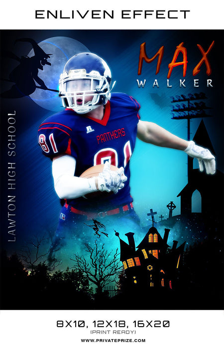 Max Walker Football Halloween Template -  Enliven Effects - Photography Photoshop Template