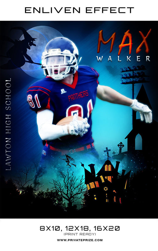 Max Walker Football Halloween Template -  Enliven Effects - Photography Photoshop Templates