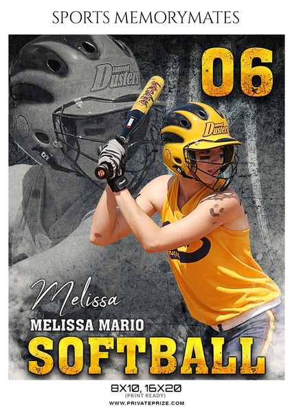 Melissa Mario - Softball - Sports Memory Mate Photoshop Template