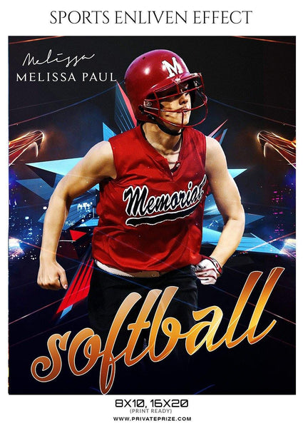 Melissa Paul - Softball Sports Enliven Effect Photography template