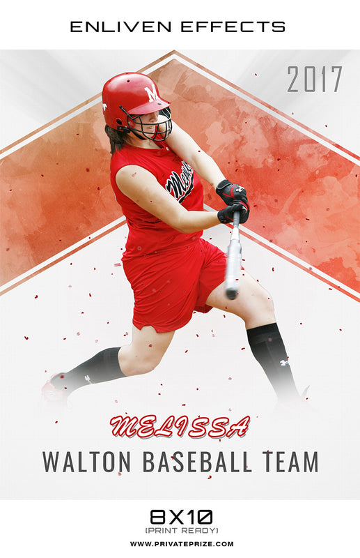 Melissa Walton High School Baseball  - Enliven Effect - Photography Photoshop Template