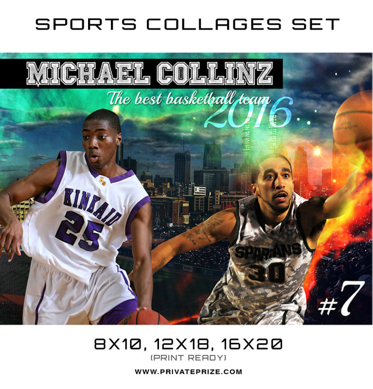 Michael Basketball High School Sports Template -  Enliven Effects - Photography Photoshop Template