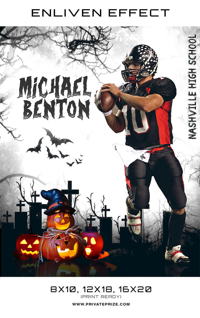 Michael Benton Football Halloween Template -  Enliven Effects - Photography Photoshop Templates