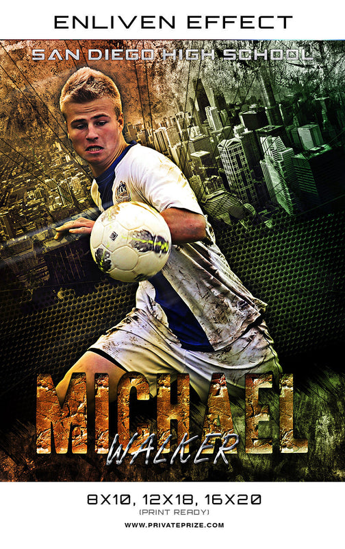 Michael San Diego High School Soccer Sports Template -  Enliven Effects - Photography Photoshop Templates