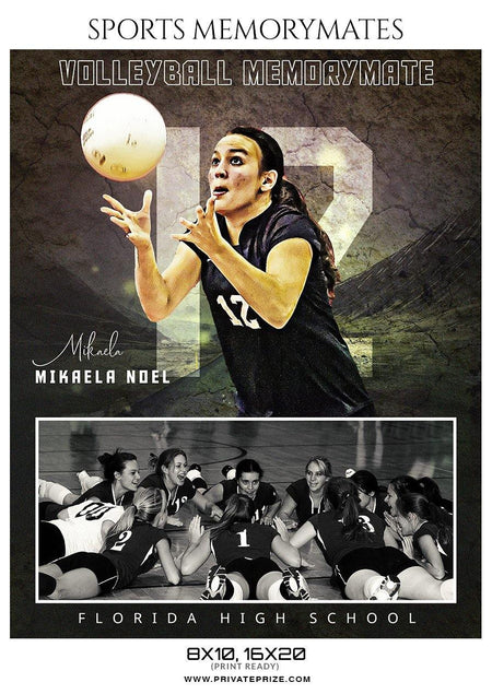 Mikaela Noel - Volleyball Memory Mate Photoshop Template