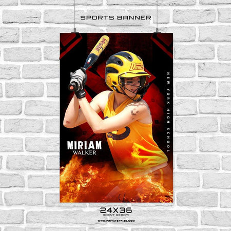 Adriana Walker - Softball Sports Banner Photoshop Template