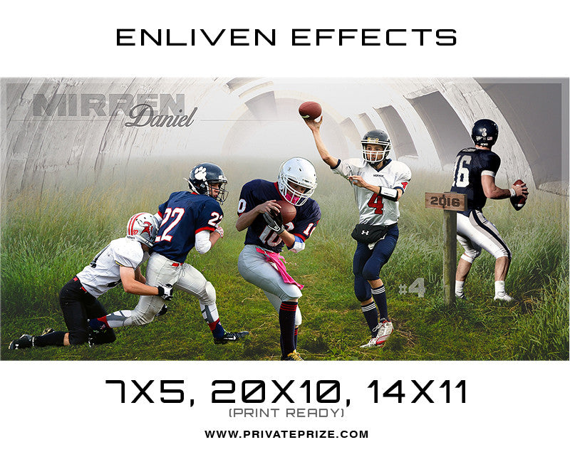 Mirren Daniel Football Photoshop Template - Enliven Effects - Photography Photoshop Template