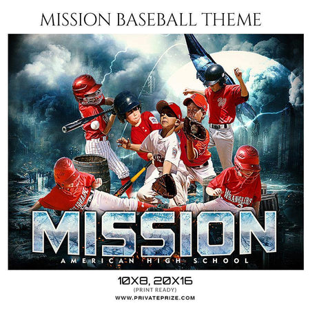Mission Baseball - Themed Sports Photography Template