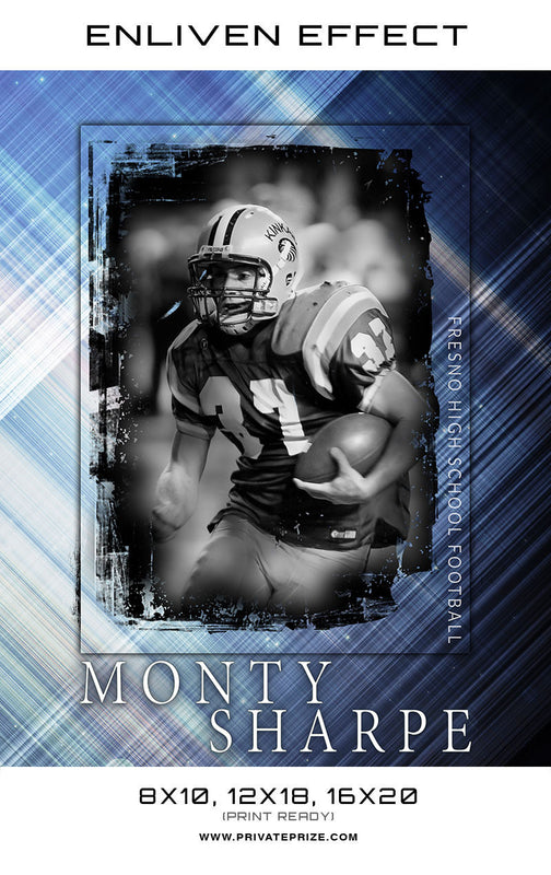 Monty Fresto High School Football Sports Template -  Enliven Effects - Photography Photoshop Templates