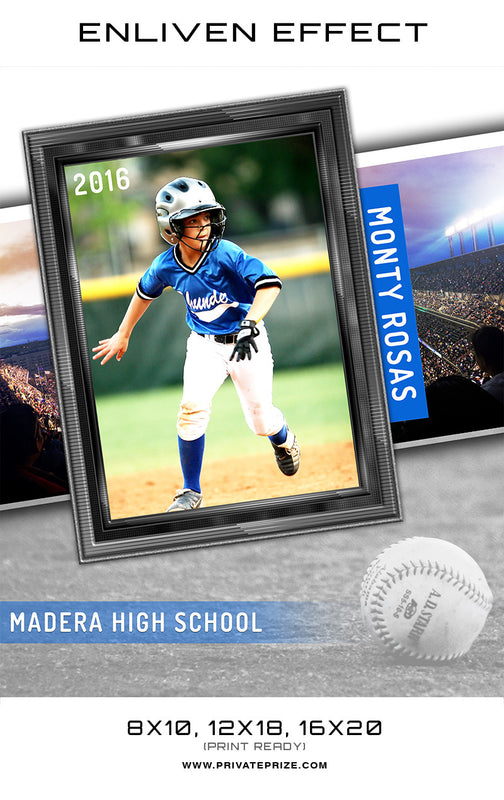 Monty Madera Baseball High School Sports Template -  Enliven Effects - Photography Photoshop Templates