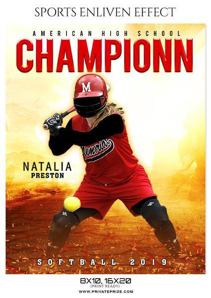 Natalia Preston - Softball Sports Enliven Effects Photography Template