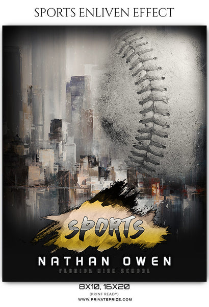 Nathan Owen - Baseball Sports Enliven Effects Photography Template - Photography Photoshop Template