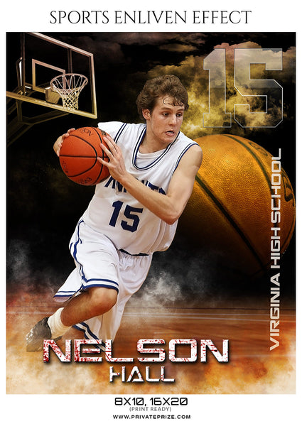 Nelson Hall - Basketball Sports Enliven Effects Photography Template - Photography Photoshop Template