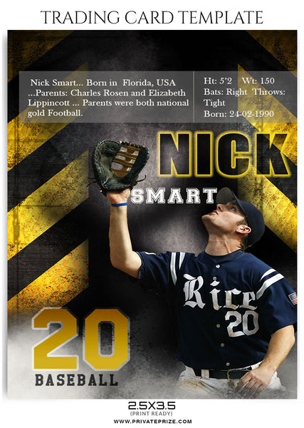 Nick Smart Sports Trading Card Template - Photography Photoshop Template