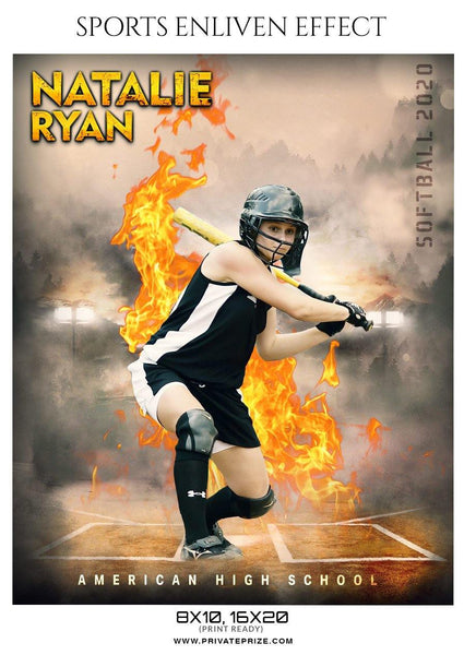 Natalie Ryan - Softball Sports Enliven Effect Photography template