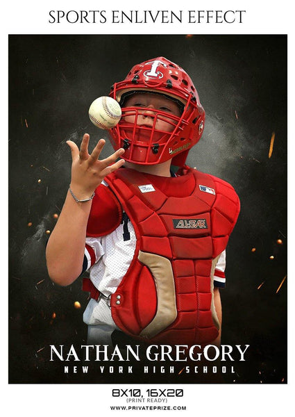 Nathan Gregory - Baseball Sports  Enliven Effects Photography Template