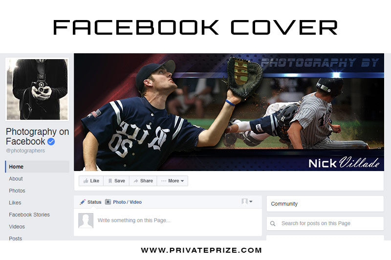 Facebook Timeline Cover Nick Villade - Photography Photoshop Templates