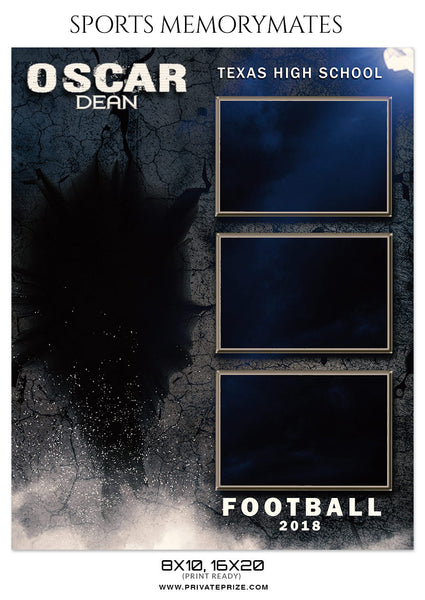 OSCAR DEAN FOOTBALL SPORTS MEMORY MATE - Photography Photoshop Template