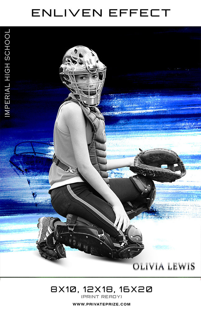 Olivia Softball Imperial High School Sports Template -  Enliven Effects - Photography Photoshop Templates
