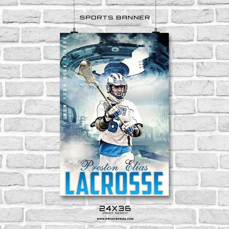 Preston Elias - Lacrosse Enliven Effects Sports Banner Photoshop Template - Photography Photoshop Template