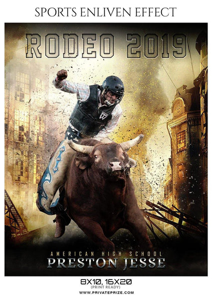 Preston Jesse - Rodeo Sports Enliven Effects Photography Template - Photography Photoshop Template