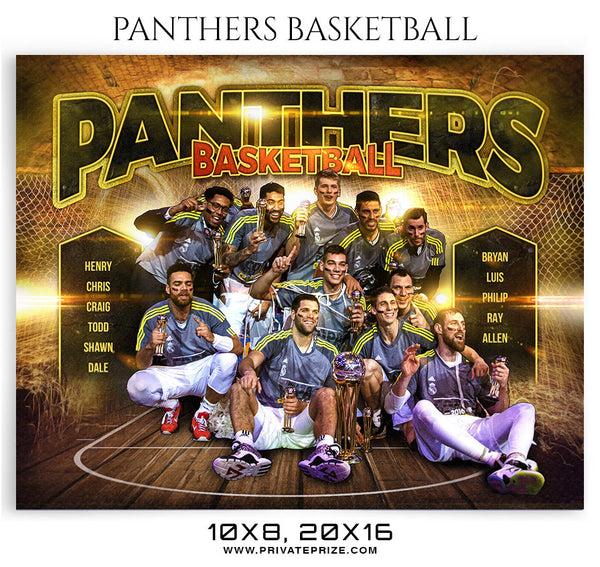 Panthers Basketball Themed Sports Photography Template - Photography Photoshop Template
