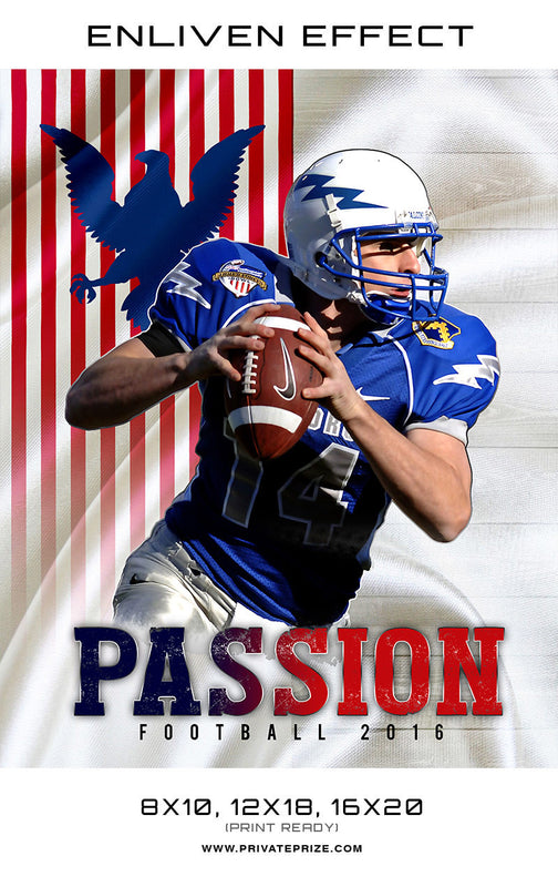 Passion High School Football Template -  Enliven Effects - Photography Photoshop Templates