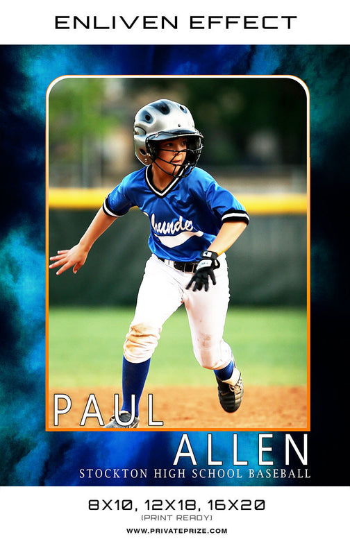 Paul Stockton High School Baseball Sports Template -  Enliven Effects - Photography Photoshop Templates