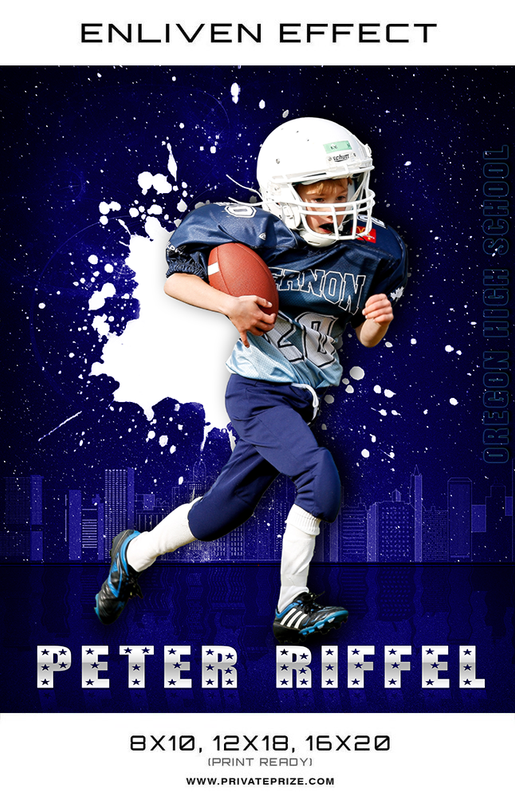 Peter Oregon High School Football Sports Template -  Enliven Effects - Photography Photoshop Templates