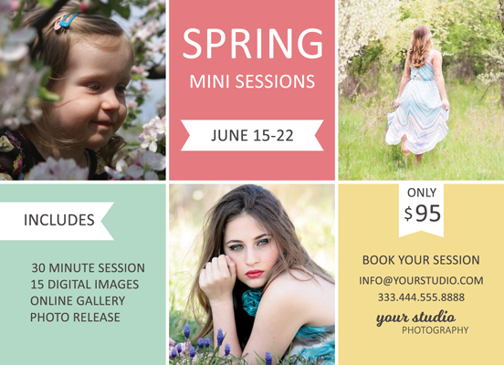 Spring Mini Session Flyer Template for Photographers - Photography Photoshop Templates