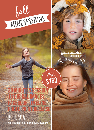 Fall Mini Session Flyer Template for Photographers - Photography Photoshop Template