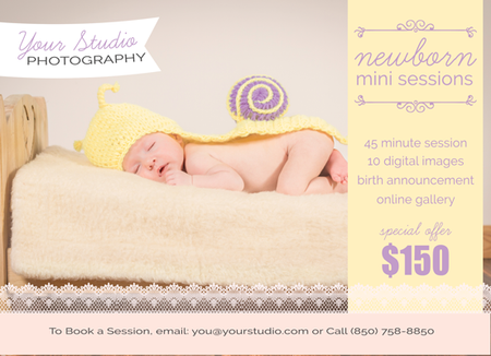 New Born Mini Session Flyer Template for Photographers - Photography Photoshop Template