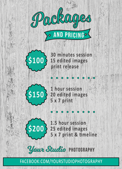 Studio Package Flyer Template for Photographers - Photography Photoshop Templates
