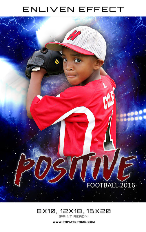 Positive Baseball Sports Photography Template -  Enliven Effects - Photography Photoshop Templates