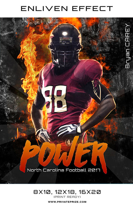 Power North Carolina Football School Sports Template -  Enliven Effects - Photography Photoshop Template