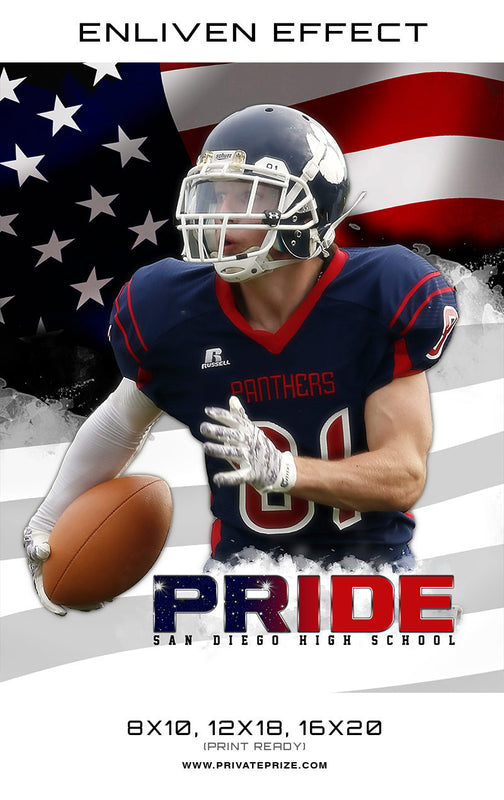 Pride San Diego High School Football template -  Enliven Effects - Photography Photoshop Templates