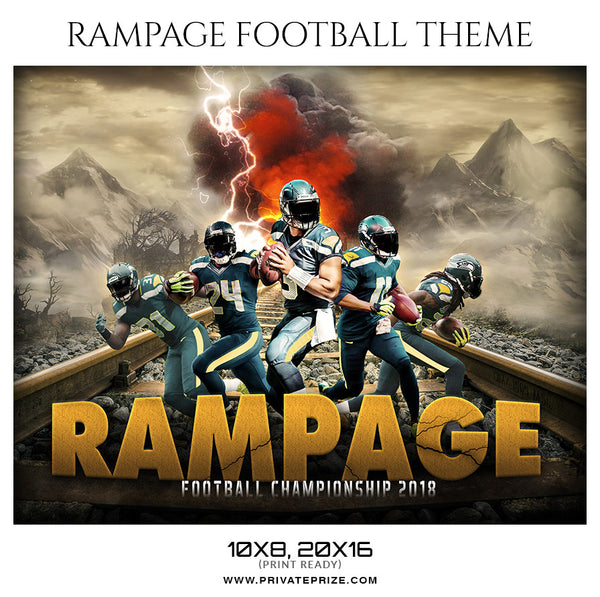 Rampage Football Themed Sports Photography Template - Photography Photoshop Template