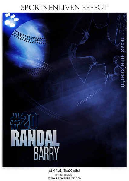 Randal Barry Baseball-Sports Enliven Effect - Photography Photoshop Template