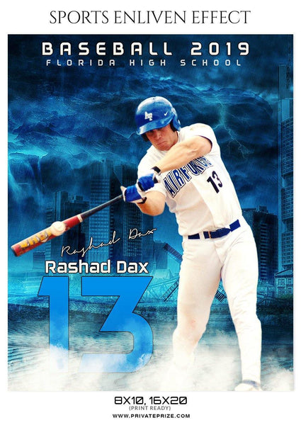 Rashad Dax - Baseball Sports Enliven Effects Photography Template - Photography Photoshop Template