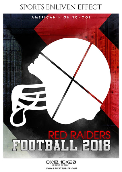 RED RAIDERS-FOOTBALL - SPORTS ENLIVEN EFFECT - Photography Photoshop Template