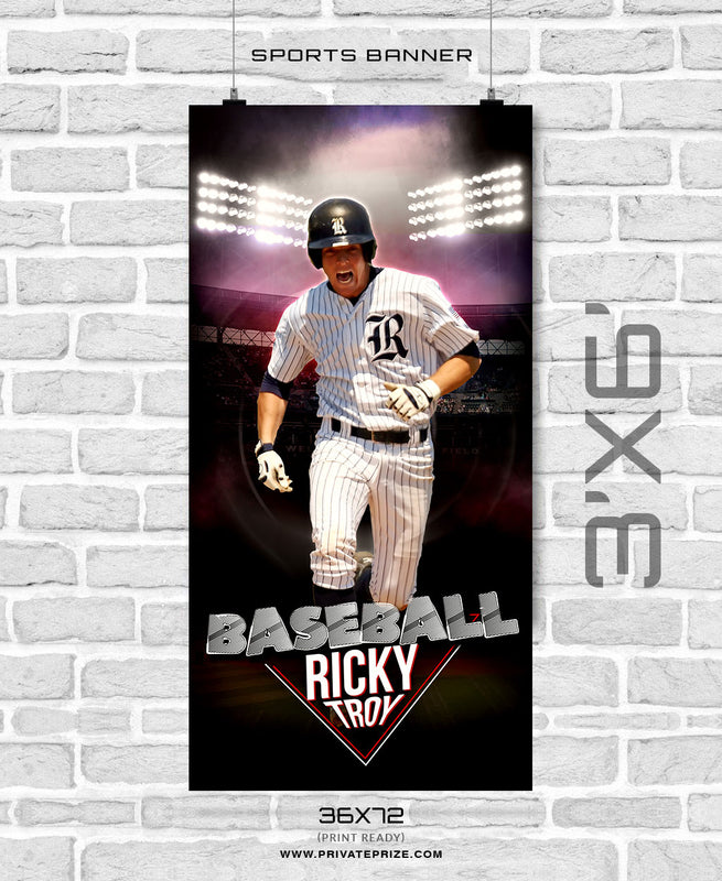 Ricky Troy - Baseball Enliven Effects Sports Banner Photoshop Template - Photography Photoshop Template