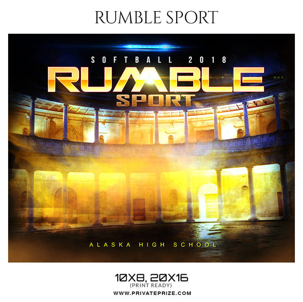 RUMBLE SPORT Softball Themed Sports Photography Template